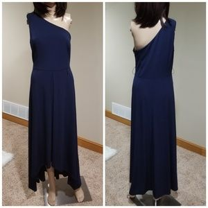 Vince Camuto Dress Gown One Shoulder Blue